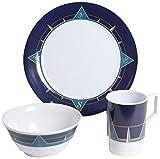 Cheap Galleyware Blue Compass 18 Piece Melamine Non-Skid Dinnerware Set