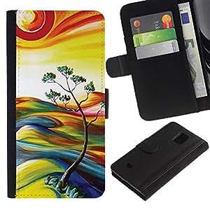 WINCASE (No Para S5) Cuadro Funda Voltear Cuero Ranura Tarjetas TPU Carcasas Protectora Cover Case Para Samsung Galaxy S5 Mini, SM-G800 - pintura de la naturaleza del árbol del sol del verano