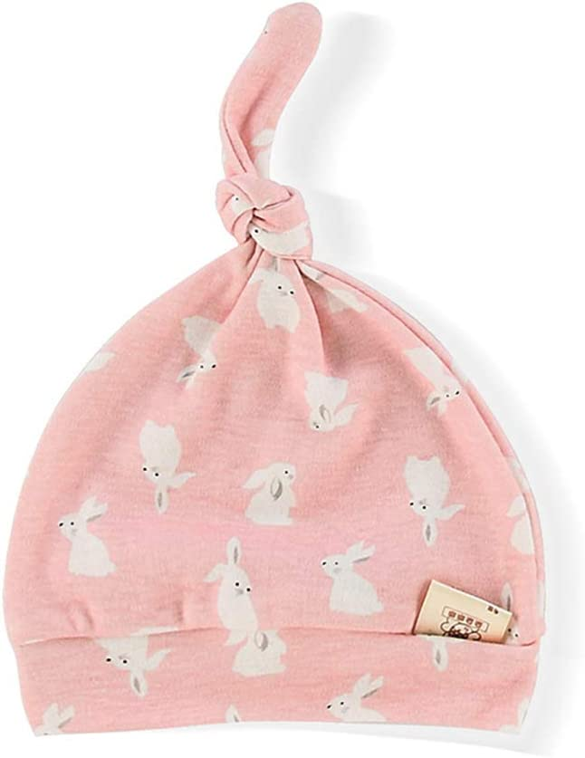 Gobesty Newborn Baby Cotton Caps Pink Baby Beanie Knot Hat Soft Infant caps for Baby 3-6 Months