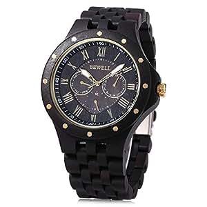 Bewell W116C Mens Wooden Watch with Date Day Luminous Hands Lightweight Wristwatch (Ebony)