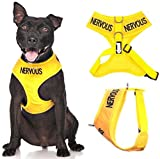 """NERVOUS"" Yellow Color Coded Medium Vest Dog Harness (Give Me Space) PREVENTS Accidents"