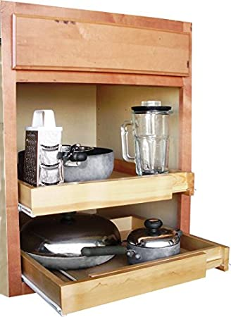 Amazon.com: EXPANDABLE PULL OUT CABINET SHELF, WOOD: Home & Kitchen