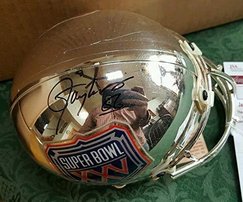 (Rare Autographed Signed Autograph Giants Lawrence Taylor Sb Xxv Chrome Mini Helmet JSA Authentic)