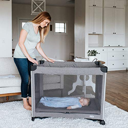 51nRM5BT1ZL - HALO 3-in-1 DreamNest Plus Bassinet, Portable Crib, Travel Cot With Rocking Attachment, Breathable Mesh Mattress, Easy To Fold Pack And Play