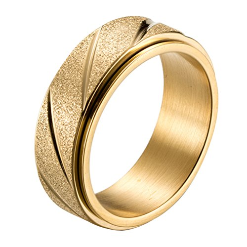HIJONES Men's Spinner Ring Stainless Steel Gold Plated Sandblast Band 8mm Size 12