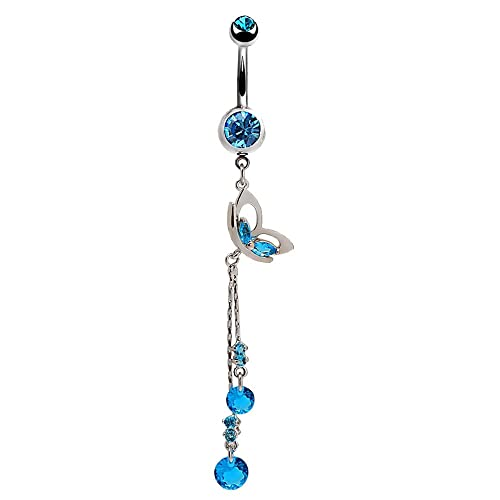 Belly Navel Ring Surgical Steel Sapphire Blue Cute Mask Crystal Dangle Curved Barbell Belly Button Piercing Jewelry
