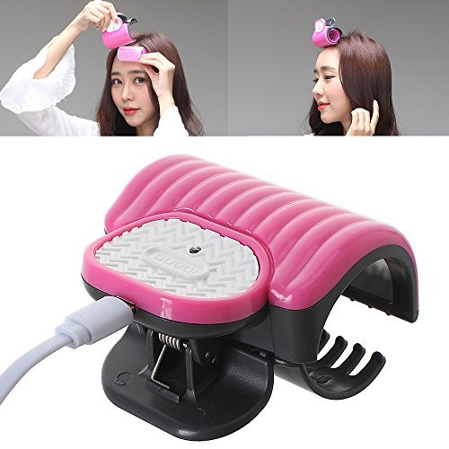 iBang Portable Instant Heat Hot Roller Clip temp. 80? 176? - Natural Wave Hair Bang Curler for Travel Work at voltage,ampere 5V,2A, not 5V,1A (Rose Pink)