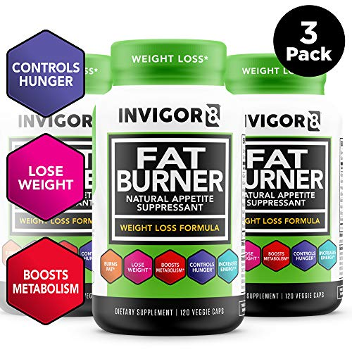 INVIGOR8 Fat Burner and Natural Appetite Suppressant - Healthy Weight Loss Formula and Thermogenic with Green Tea Leaf Extract (3-Pack 90 Day Supply)...