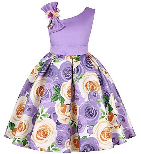 Flower Girls Dresses Child Christmas Halloween Easter Formal Bridesmaid New Year Knee Dress (Purple,150)]()