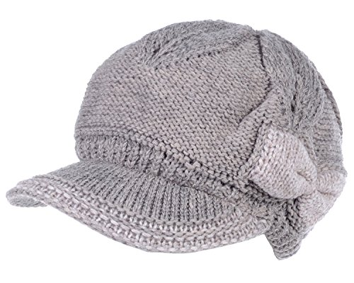 BYOS Womens Winter Chic Cable Knitted Newsboy Cabbie Cap Beret Beanie Hat with Visor, Warm Plush Fleece Lined, Many Styles (Dk.Beige W/Oatmeal Bow) by Be Your Own Style