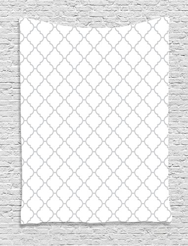 Satin White Background - Ambesonne Grey Decor Tapestry, Simple Monochrome Patterns Geometric Linked Forms On PlaIn Background Modern Figures Print, Bedroom Living Room Dorm Decor, 40 W x 60 L Inches, White Gray