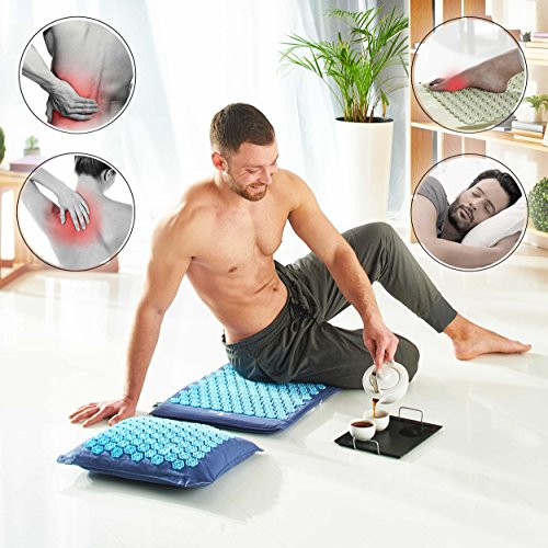 New Version Professional Acupressure Mat and Pillow Set Natural Linen – Best Acupuncture Mat Gift – Back And Neck Pain Relief Reflexology Mat – For Women And Men - Stress and Muscle Relief by Artree (Image #3)