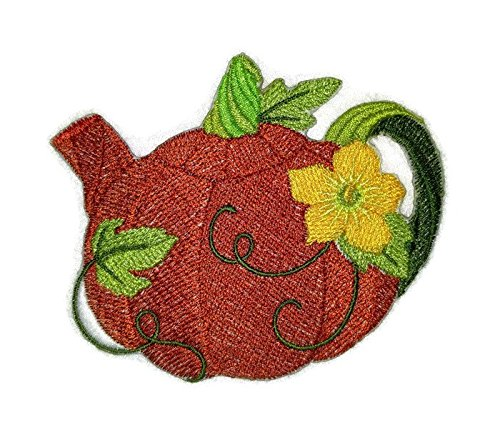 (BeyondVision Custom And Unique Autumn Elegance Teapot Embroidered Iron on/Sew patch [4