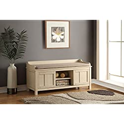 Acme Furniture 96620 Rosio Bench with Storage, Fabric & Cream