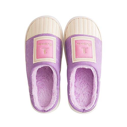 Cotone fankou pantofole inverno femmina spessa coperta confezione impermeabile per rimanere piano anti-slip caldo cotone pantofole uomini e ,41-42, rosa