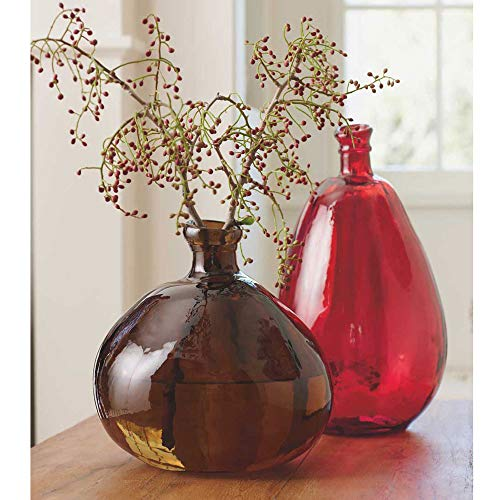 Vivaterra Recycled Glass Balloon Vases - Set of 2 - Tall 19 H x 10 Dia. and Askew 13 H x 14 Dia. - Chocolate and Red (Set Vase Red)