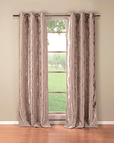Mettalic Leaves Insulated Energy Saving Blackout Window Grommet Top Curtains 36 inch Wide by 84 Long (Assorted Colors) Set of 2 Panel Room Darkening Drapes - Taupe