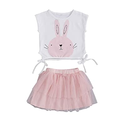 a1d8beddb772 Amazon.com: Toddler Baby Girl Easter Bunny Outfit Sleeveless Rabbit ...