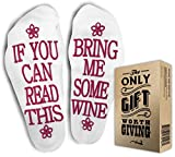 "FUNNIEST WINE SOCKS + Gift Box ""If you can read this bring me some wine"" Perfect Christmas Funny Unisex Gift for Wine Lovers, Birthdays, White Elephant, Wife, Husband or Best Friend Wine Socks"