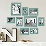 Photolini Set of 9 Picture Frames, Beach-House Style, Rustic, Blue, Solid Wood, with 3 different Dimensions of 4 x 6, 5 x 7 and 8 x 10 Inch