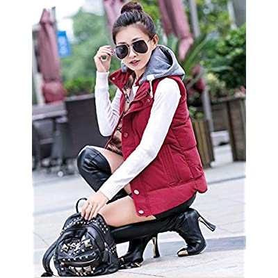Yeokou Women's Slim Sleeveless Quilted Removable Hooded Winter Puffer Vest Coat at Women's Coats Shop