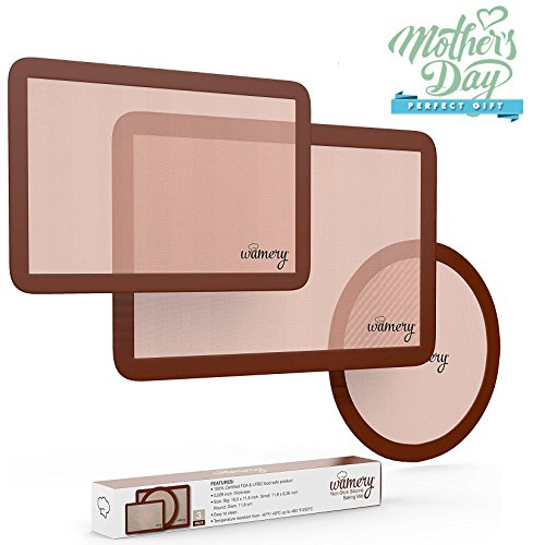 Professional Silicone Baking mat Liners. 3-Pack Mats Set. Standard half size, quarter & round sheets. Reusable, Soft, Non-Stick, Non-Toxic. Oven, microwave & dishwasher safe. Ideal for bread. FDA Round Non Stick Baking Sheet
