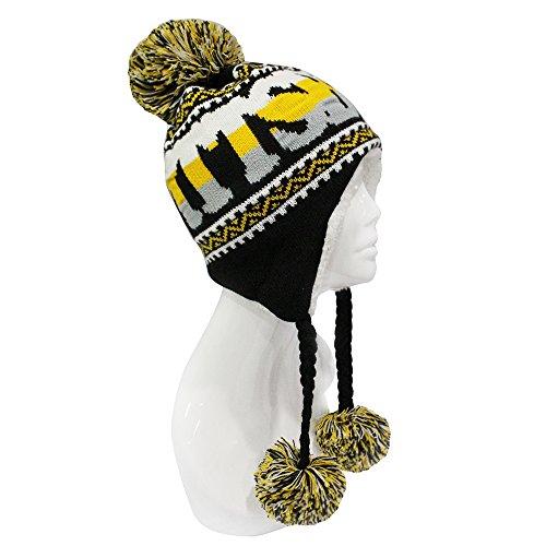 ChoKoLids Football Team City Name Knitted Pom Pom Earflap Winter Hat - 23 Cities - Pittsburgh Aviators