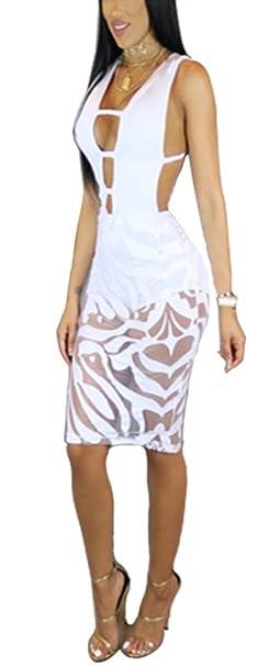 White Mesh Cut Out Dress