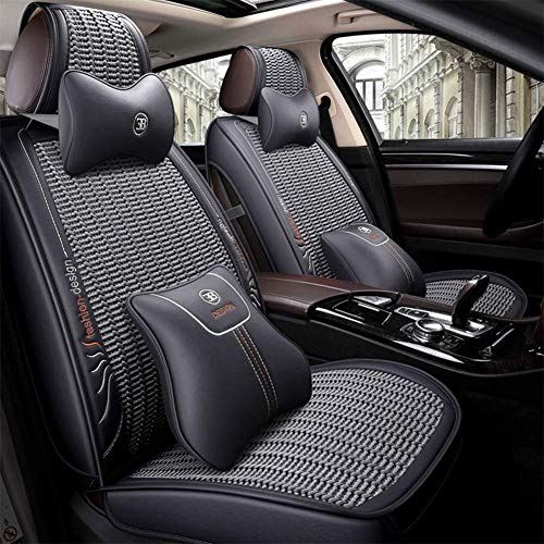 ZHAS Luxurious, breathable leather, material 360 °; Around the summer Seat cover for front seats and five rear seats, gray: