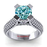 RINGJEWEL 3.20 ct VVS1 Round Moissanite Solitaire Engagement Silver Plated Ring Blue Color Size 7