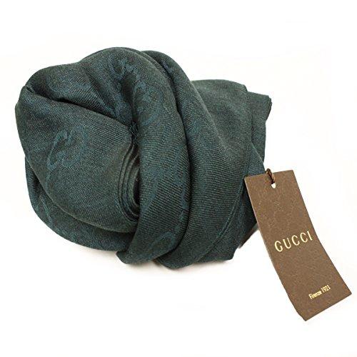Gucci 362653 Gucci Hunter Green Wool/cashmere Silk Gg Logo Scarf (Logo Silk Scarf)