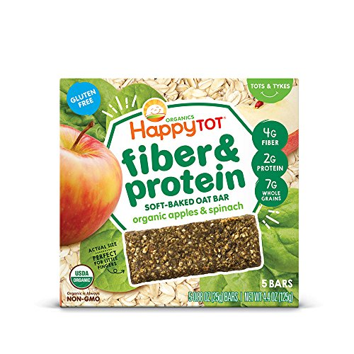 Happy Tot Organic Fiber & Protein Soft-Baked Oat Bars Toddler Snack Apple & Spinach, 5 Count 0.88 Ounce Bars (Pack of 6) (Packaging May Vary)