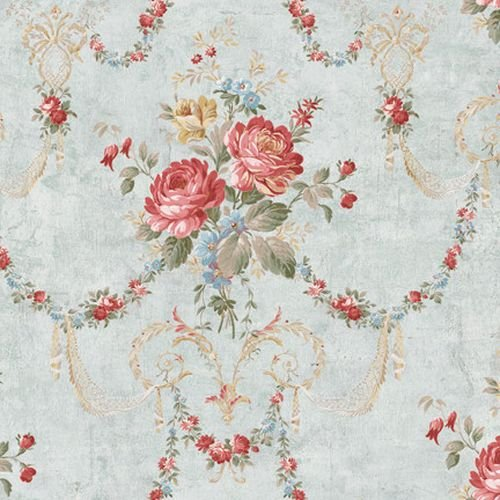 Wallpaper Victorian Floral Bouquet Swag Multi Colors on Light Aqua Crackle Background ()