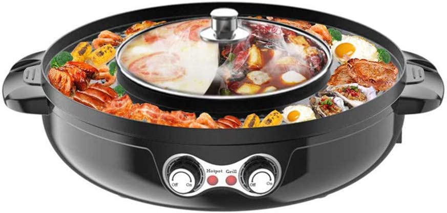 SEAAN Electric Hot Pot Grill Indoor Korean BBQ Grill Shabu Shabu Pot with Divider, Separate Dual Temperature Control, Separate cleaning, Capacity for 6 People, 110V