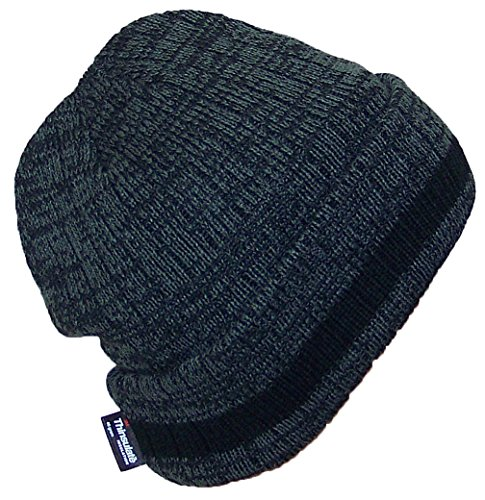 Best Winter Hats 3M 40 Gram Thinsulate Insulated Cuffed Knit Beanie (One Size) - Black/Dark Gray W/Black Stripe (Cuffed Knit Beanie Cap)