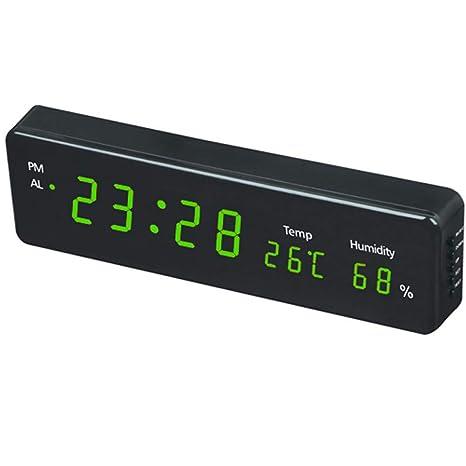 Electronic LED Digital Alarm Clock Thermometer Light Blue Display Hygrometer