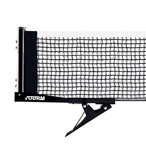 VODRM Premium Clipper Ping Pong Net - Table Tennis Net and Post Set Easy and Fast Assemble 72 Replacement Spring Activated Clip Set (One Net)