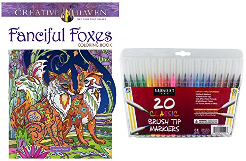 Fanciful Foxes Coloring Book Gift Set –Dover Creative Haven Fanciful Foxes & 20 Sargent Art Firm Brush Tip Marker Pens Gift Set – from Marjorie Sarnat - For All (31 Dollar Halloween Tattoos)