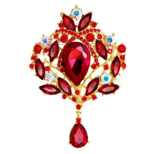 Red Gold Rhinestone Brooch (Sanwood Women's Multicolor Water Drop Rhinestone Crystal Wedding Bridal Alloy Pin Brooch (Golden Red))