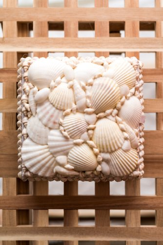 "Hinterland Trading White Nautical Seashell Jewelry Box Med 5.5"" Square"