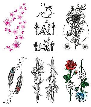 Oottati 6 Hojas Pequeño Lindo Tatuaje Temporal Tattoo Pink Desert ...