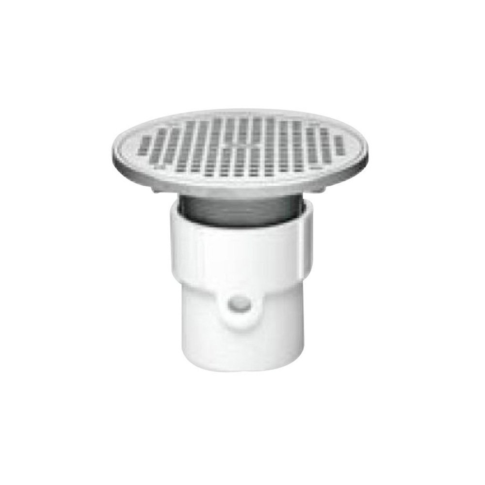 Oatey 72338 PVC General Purpose Pipe Fit Drain with 6-Inch Cast NI Grate and Round Top 4-Inch