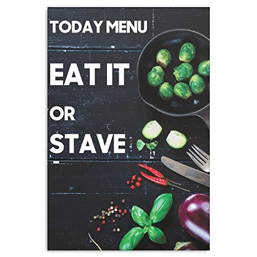 Funny Kitchen Cooking Canvas Wall Decor - Today Menu Eat Or