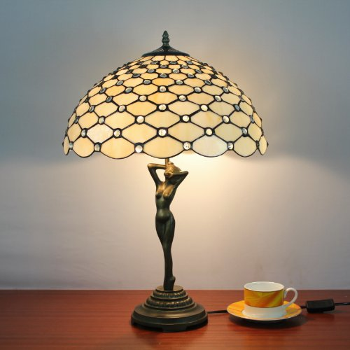 Tiffany 16-inch stained glass table lamp bedroom lamp european women pearl by Florid Tiffany