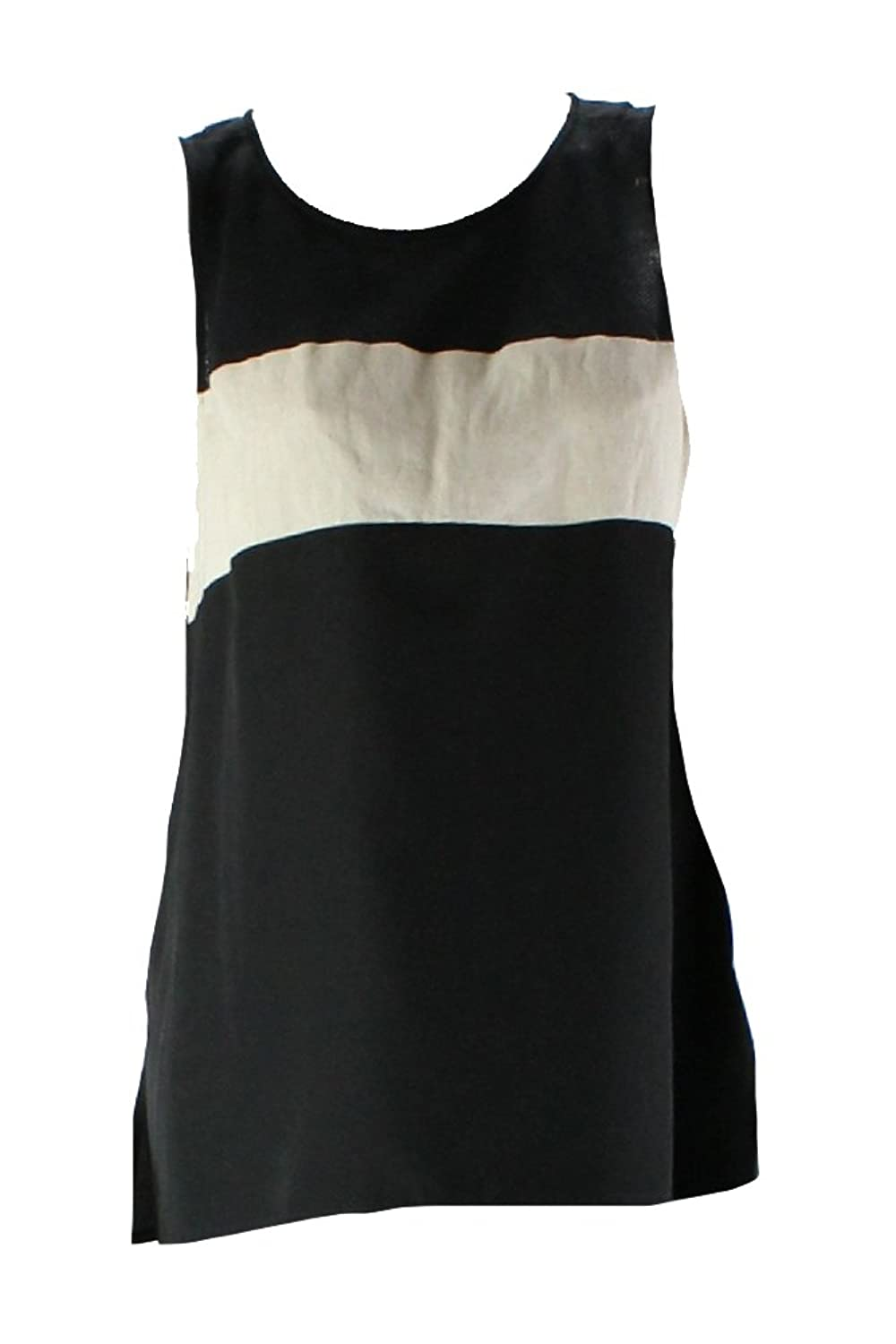 Sanctuary Black Mixed-Media Striped Tank Top L