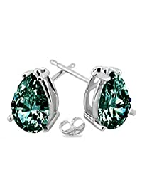 RINGJEWEL Silver Plated Pear Real Moissanite Stud Earrings (1.85 Ct,Blue Green Color,VS1 Clarity)