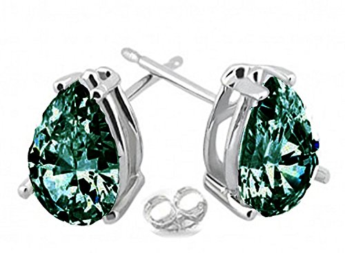 RINGJEWEL Silver Plated Pear Real Moissanite Stud Earrings (1.80 Ct,Blue Green Color,VS1 Clarity)