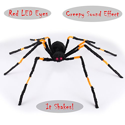 Spider Decor (Animated Realistic Halloween Motion Activated Hairy Spider With Vibrations and Great Sound Effect Outdoor Spider Decorations by Spooktacular Creations)