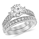1.53 Cttw 14K White Gold Round Cut Three Stone Vintage With Milgrain & Filigree Bridal Set with Wedding Band & Diamond Engagement Ring with a 0.5 Carat I-J Color I2 Clarity Center