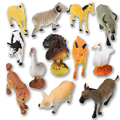 """- ArtCreativity 4"""" Farm Animals Figurines Toys (12 Pack) 